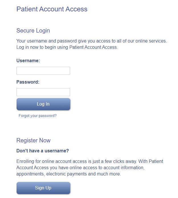 patient account login